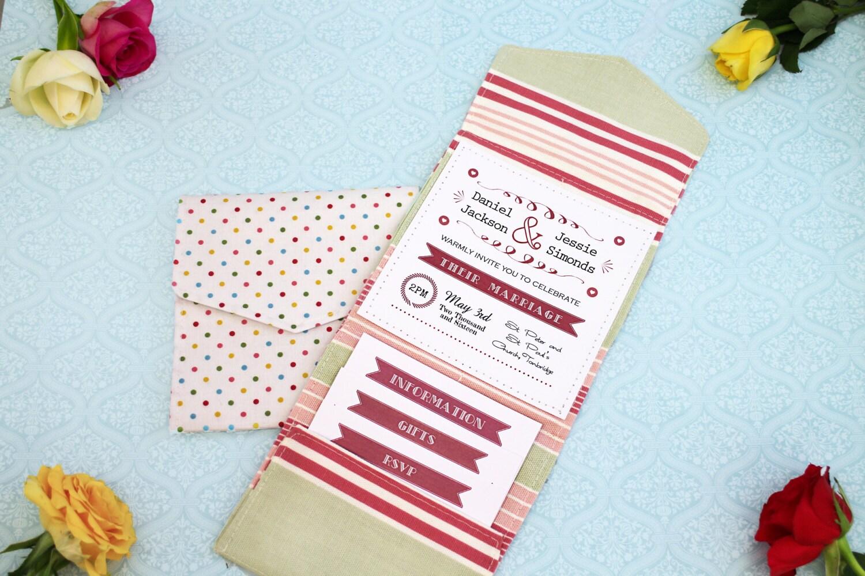 Fabric Wedding Invitations: Fabric Pocket Fold Wedding Invitations