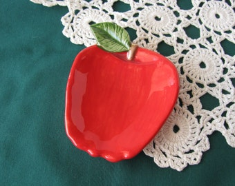 Red Apple Teabag Holder, Spoon Rest or Trinket Dish
