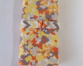 Yellow, Orange, and Grey Floral with Chevron Lining Circular Knitting Needle Case