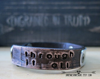 It Is Well - Through It All - My Eyes Are On You - Distressed Leather Skinnie