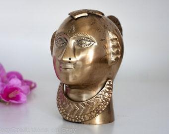 Brass Head Sculpture Statue, Vintage Indian Gauri Goddess, Authentic Hindu Figurine, Goddess of Love, Fertility and Devotion, Home Decor