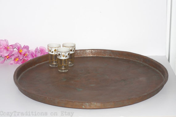 24 Moroccan Copper Tray Large Round Tea Serving