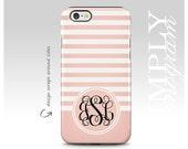 iPhone 6 Case , iPhone 5 Case , iPhone 6s Case , iPhone 5c Case , Samsung Galaxy Case , Galaxy S7 Case - Cute Pink Striped Black Monogram