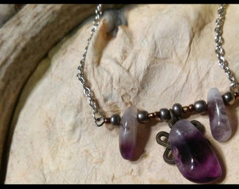 Purple Amethyst Chain Necklace
