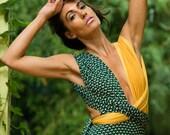 Fashion Wrap Monokini, Green + Mustard Diamonds