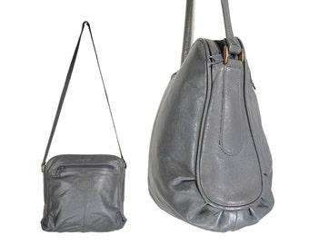 Vintage Grey Leather Shoulder Bag // H120