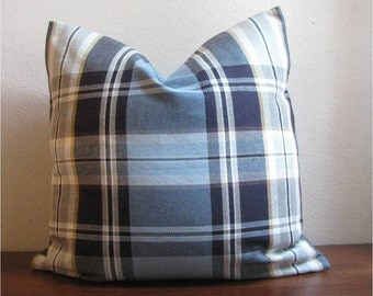 Blue, Tan, and Brown Plaid Pillow Cover