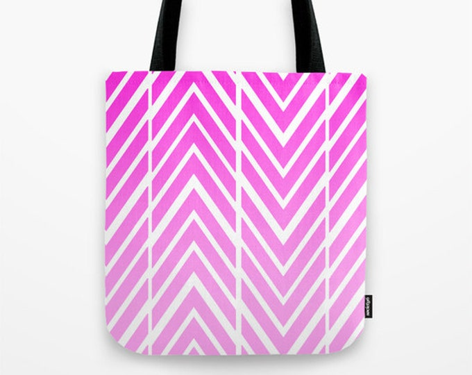 Pink Beach Bag - Book Bag - Tote Bag - Grocery Bag - Pink and White Arrows - ZigZags - Made to Order