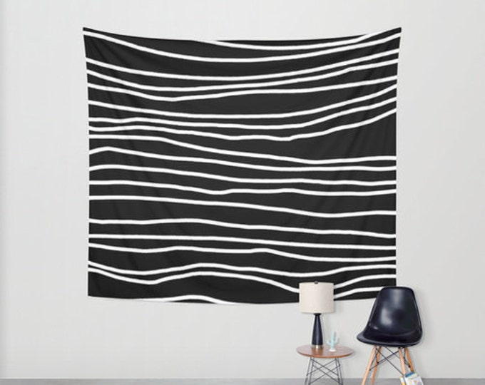 Black Hanging Tapestry - Wall Tapestry - Black and White Stripes - Large Wall Hanging - 3 Sizes Available - Home Decor - Made to Order