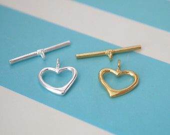 1 Set, Toggle Clasp, Sterling Silver/ Gold Vermeil, Smooth Heart, Jewelry Supplies, DIY Supplies
