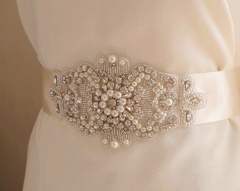 pearl bead applique, rhinestone bead Applique, bridal sash applique, rhinestone belt trim ZP042