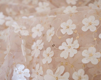 lace fabric with 3D flower applique, 3D lace fabric for photography prop