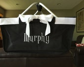 LARGE Black market tote with bow and monogram. Great for wedding party gifts, shopping, picnics. Personalized FOR FREE. Quantity Discount.