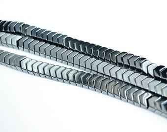 Hematite Beads, Chevron Shaped, 8 mm x 5 mm  - 20 pieces