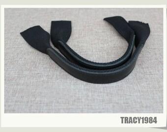 40cm Black Full-grain Leather Bag Purse Handles