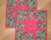 Christmas Red Green Holly Leaves Quilted Candle Mats Snack Mats Mug Rugs Quilt