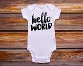 Hello World Bodysuit Gender Neutral Baby Girl Boy Newborn Shirt New Baby Shirt Birth Announcement Bodysuit Coming Home Outfit Baby Shower #3