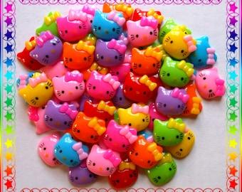 Kawaii Hello Kitty Resin Flatback / Cabochons .. ( 20 ) Mixed Variety Hello Kitty Flatbacks