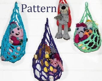 Crochet Pattern - Hanging Basket Cocoon Toy Storage Solution  - T shirt Yarn - Easy