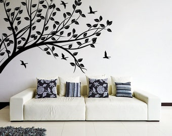 Superbe Wall Decal Tree Silhouette Branch With Leafs U0026 Birds / Nature Art Decor  Sticker / Forest