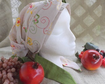 375 Bright Summer Flowers Embroidered Rayon Head Cover with Matching Linen & Rayon Long Wrap Ties