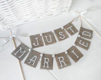 Just Married Wedding Cake Topper, Pearls Just Married Wedding Cake Topper Banner,  rustic wedding cake topper