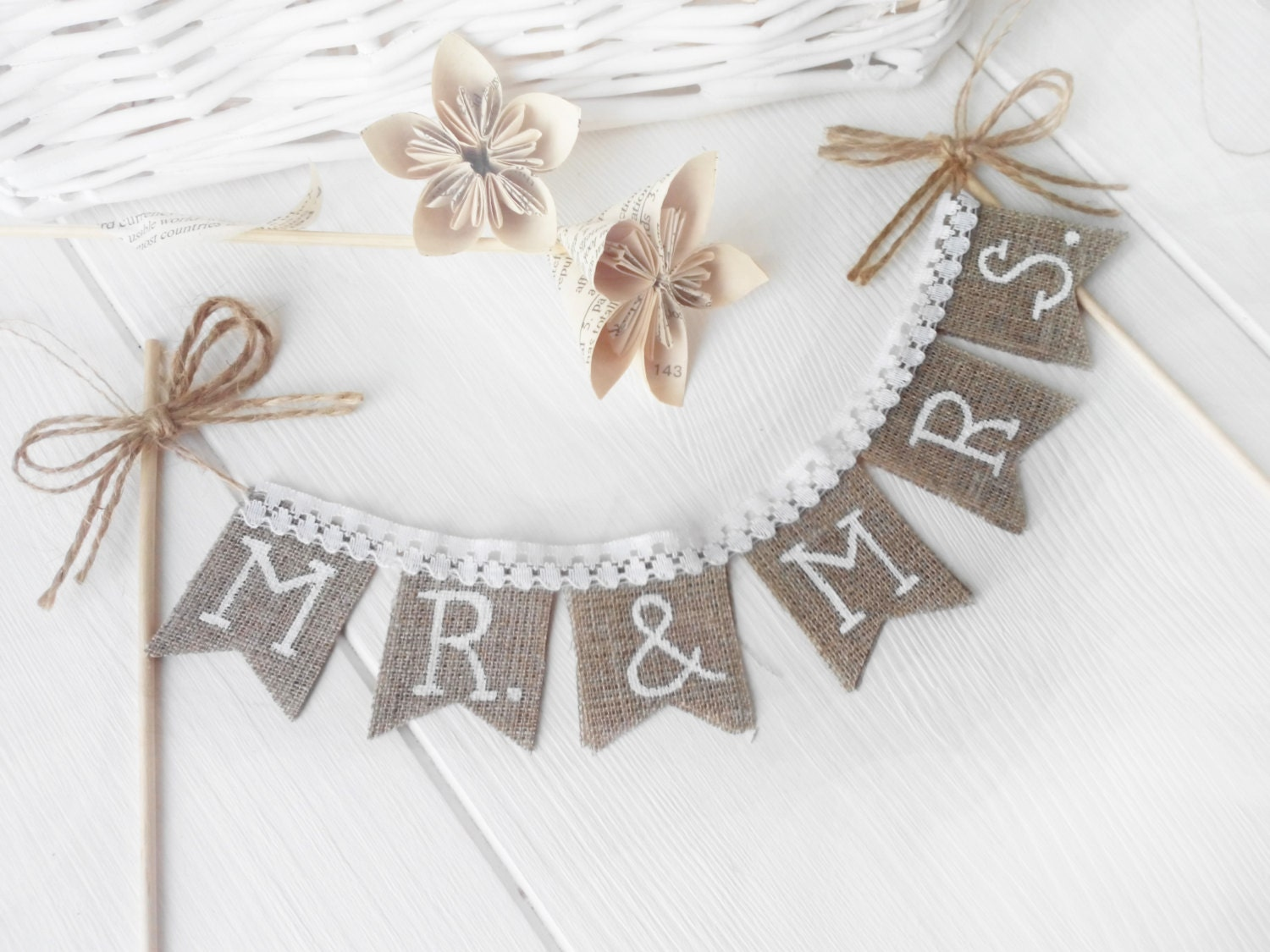 Rustic Mr & Mrs Wedding cake topper shabby chic vintage