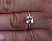 Cushion 6mm Pink Morganite Engagement Ring in 14k Rose Gold with Diamond Half Eternity Band