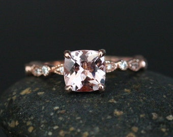 14k Rose Gold Diamond and Pink Morganite Cushion 8mm Engagement Ring