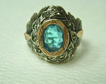 vintage sterling, gold, topaz, and marcasite ring, size 8.75