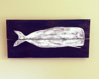 Whale Wall Art XL - Reclaimed wood wall art, salvaged wood wall art, nautical wall art, sea life, whales, fish