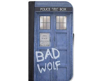 Doctor Who Inspired Tardis BAD WOLF Police Box Wallet Case Choose Samsung Galaxy S3, S4, S5, S6, S6 Edge, S7 or Galaxy S7 Edge.