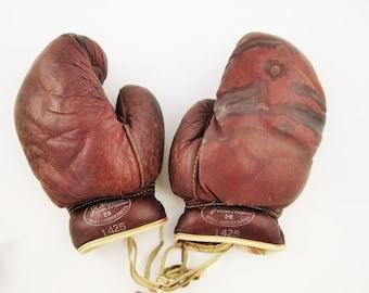 Vintage 'J.C. Higgins 28, No. 1425' Boxing Gloves - Worn Boxing Gloves - Pugilist Collectors - Soft Leather Boxing Gloves