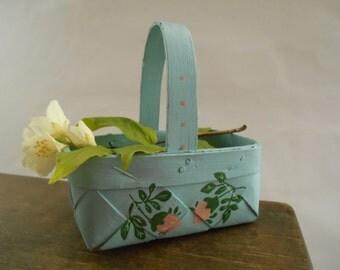 Vintage Swedish basket Small basket Handmade Scandinavian wicker basket Painted blue basket with pink roses Flower girl basket