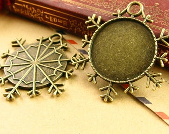 15pcs Antiqued Bronze Snow Pendant Trays,25mm Cabochon Setting Pendant Trays Blanks