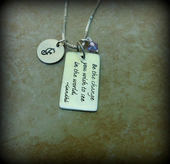Sterling silver word tag jewelry, graduation gift, men's jewelry, ladies jewelry, birthstone necklace, Gandhi quote