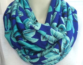 Tropical spring scarf, palm tree infinity scarf, turquoise and blue scarf, summer scarf, womens scarf, infinity scarf, royal blue