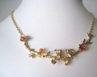 gold love bird  necklace