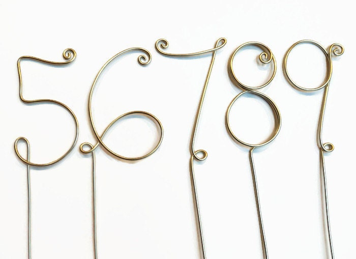 Wire table numbers for wedding or party centerpiece cake topper wire table numbers for wedding or party centerpiece cake topper silver gold red greentooth Gallery