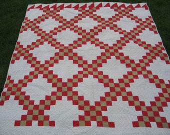 Antique Double Irish Chain Quilt Circa 1800s Primitive Hand Pieced~Quilted Red Tan & White