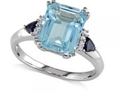 Swiss Blue Topaz Sapphire and Diamond Ring 14k White Gold (4.40ct)