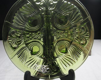 CLEARANCE! was 6.00 Vintage Clear Green Divided Glass Serving Bowl with one handle, Fleur De Lis Pattern T