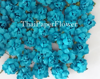 25 Turquoise Small Mulberry Paper flower roses scrapbook card making home decor wedding craft supply 19/266