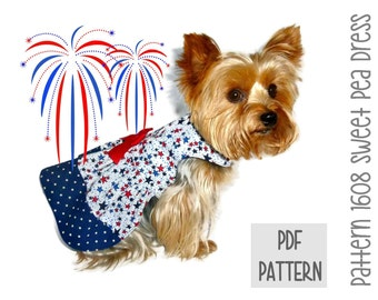 Patriotic Dog Dress SEWING PATTERN * 1608 Sweet Pea Dog Dress * Dog Harness Dress * Pet Dress * Dog Apparel * 4th of July * Dog Outfit