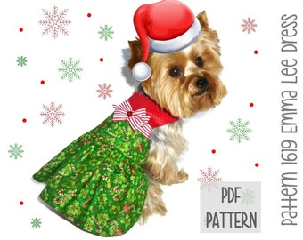 Christmas Dog Dress SEWING PATTERN * 1619 Emma Lee Dog Dress * Designer Dog Dress * Dog Harness Dress * Pet Clothes * Dog Apparel