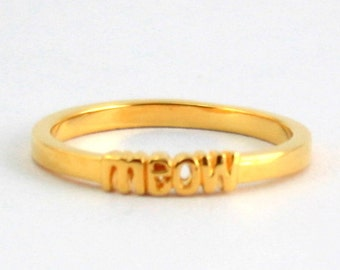 Pro Love - Meow Ring Yellow Gold Sizes 5-9