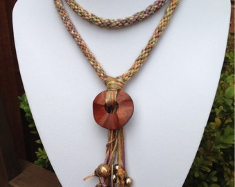 "Neutral brown bamboo braided cord necklace with beads 28"" in length"