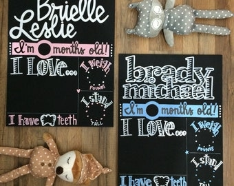 BRAND NEW TWINS Month-by-Month Chalkboards (set of 2), unique alternative to 1-12 month stickers, blocks, baby onesie or bodysuit stickers