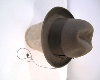 Vintage Green Taupe Fedora with Wind Trolley, Chastey London, ca 1950s