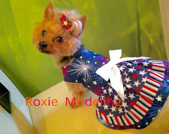 Dog Dress, 4th of July Red, White and Blue